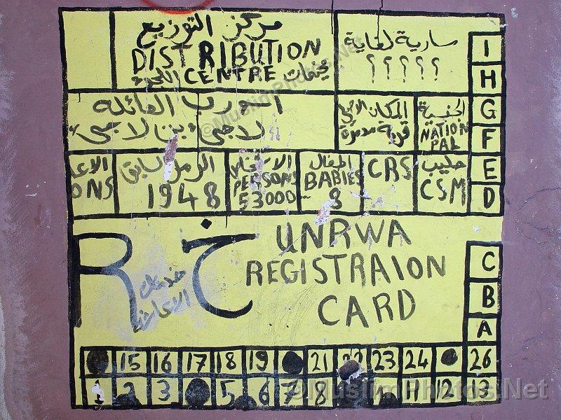Unrwa Registrations Card As A Grafitti On A Wall